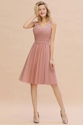 A-line V-neck Knee Length Homecoming Dress | Dusty Rose Chiffon Party Dress with Pleats_8