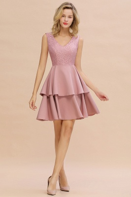 Lovely V-neck V-back Knee Length Ruffle Homecoming Dresses_14