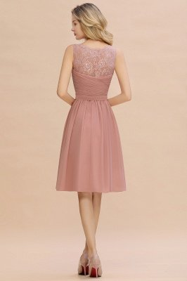 A-line V-neck Knee Length Homecoming Dress | Dusty Rose Chiffon Party Dress with Pleats_10