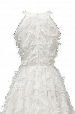 Gorgeous A-line Burgundy Halter Feather Princess Vintage Short Dresses_19