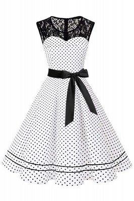 Brilliant Jewel A-line Bow Sleeveless Fashion Belted Dresses | Polk-Dot Knee-Length Women's Dress_1