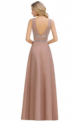 Gorgeous Sleeveless V-back Pink Deep V-neck Long Evening Dresses_12
