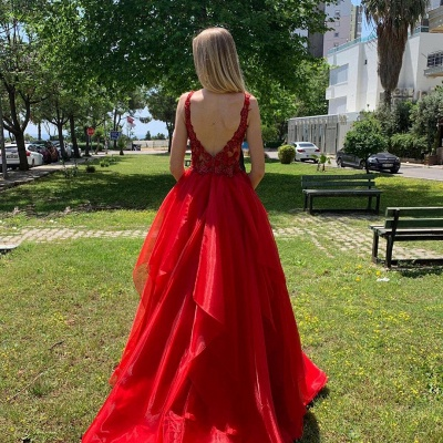 Sexy Dee V Neck Red Organza Long Prom Dress | Cheap Layers Lace Straps Prom Gown_2
