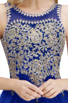 Cute Crew Neck Open Back Beaded Lace Appliques Homecoming Dresses_21