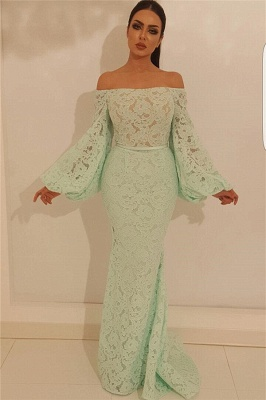 Elegant Mermaid Off the Shoulder Prom Dress | Chic Lace Long Sleeves Prom Dress_1
