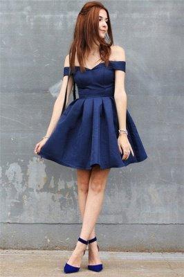 Off-the-shoulder Short Dark-Navy A-line Modest Homecoming Dress_3