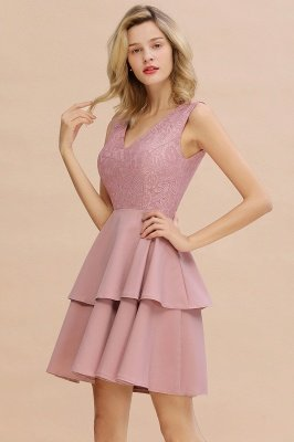 Lovely V-neck V-back Knee Length Ruffle Homecoming Dresses_16