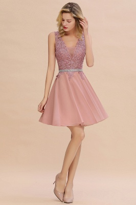Cute Deep V-neck Knee Length Belt Beaded Short Homecoming Dresses_13