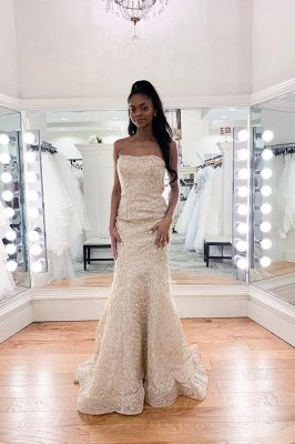 Charming Strapless Beaded Mermaid Wedding Dress | Affordable Sleeveless Long Bridal Dress