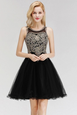 Cute Crew Neck Open Back Beaded Lace Appliques Homecoming Dresses_7