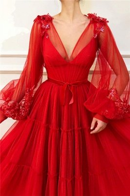 Chic V Neck Long Sleeves Red Tulle Prom Dress   Charming Ball Gown Appliques Beading Long Prom Dress_2