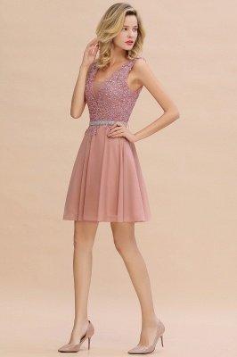 Cute Deep V-neck Knee Length Belt Beaded Short Homecoming Dresses_12