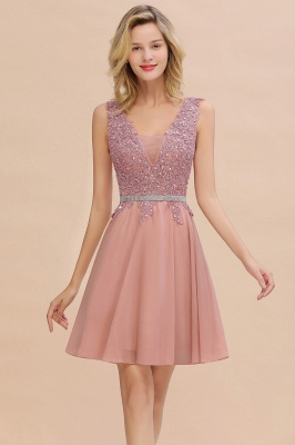 Cute Deep V-neck Knee Length Belt Beaded Short Homecoming Dresses