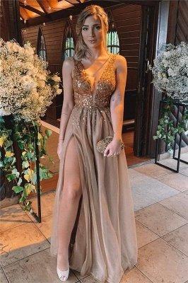 Sexy Front Slit Deep V Neck Prom Dress | Cheap Sleeveless Beading Ruffles Long Prom Dress_1