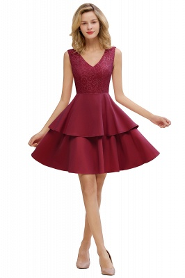 Lovely V-neck V-back Knee Length Ruffle Homecoming Dresses_2