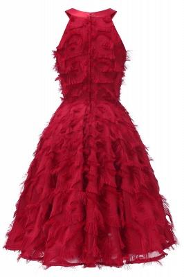Gorgeous A-line Burgundy Halter Feather Princess Vintage Short Dresses_12