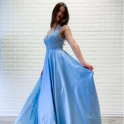 A-line V-neck Floor Length Prom Dress | Sky Blue Prom Gown with Lace Appliques_2