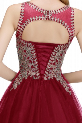 Cute Crew Neck Open Back Beaded Lace Appliques Homecoming Dresses_28