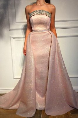 Sparkle Sequins Strapless Pink Prom Dress   Fantastic Sleeveless Beading Long Prom Dress_1