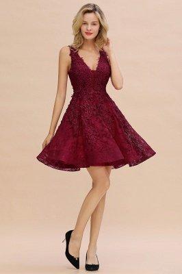 Princess V-neck Knee Length Lace Appliques Homecoming Dresses_19