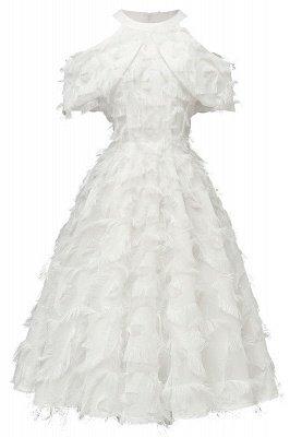 Gorgeous A-line High neck Artifical Feather Vintage Short Dresses_1