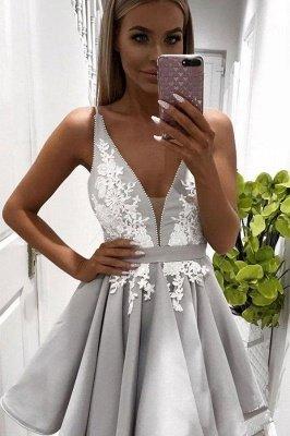 Short V-neck Lace Cute Sleeveless Homecoming Dress_3