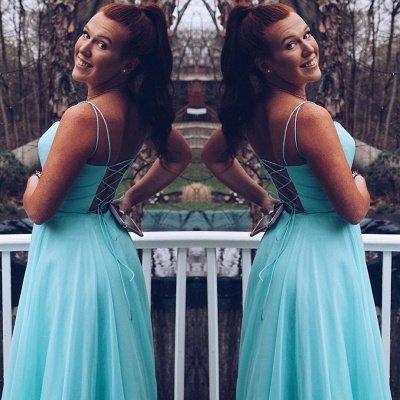 A-line Spaghetti Straps Criss-Cross Straps Prom Dress | Plain Cyan Chiffon Prom Gown_2