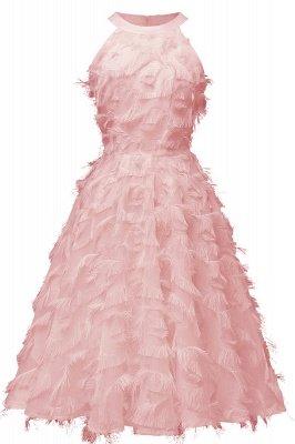 Gorgeous A-line Burgundy Halter Feather Princess Vintage Short Dresses_5
