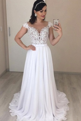 Alluring Off the Shoulder Cap Sleeves A-line Wedding Dresses