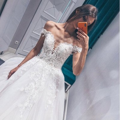 Stunning Off the Shoulder  White Wedding Dress | Fantastic V Neck Lace Long Bridal Dress_2