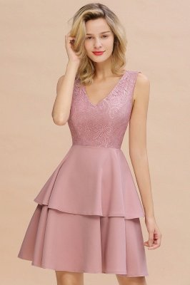 Lovely V-neck V-back Knee Length Ruffle Homecoming Dresses_18