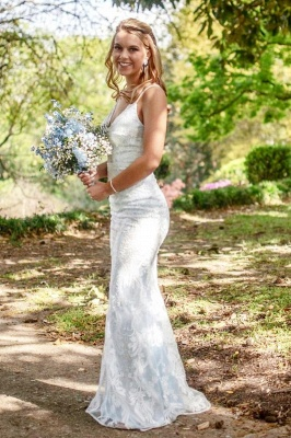 Fantastic Spaghetti Straps V Neck Wedding Dress | Affordable Lace Appliques Long Bridal Gown