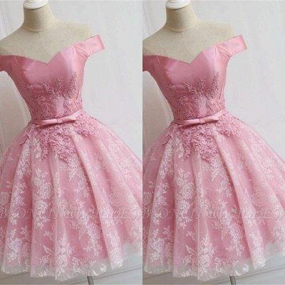 Elegant Pink Off-the-Shoulder Appliques Bowknot A-line Homecoming Dress_2