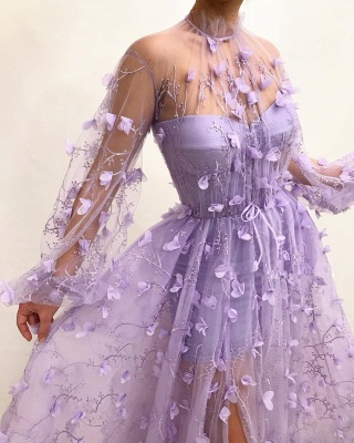 Sexy Tulle High Neck Front Slit Prom Dress | Chic Appliques Flowers Long Sleeves Prom Dress_3