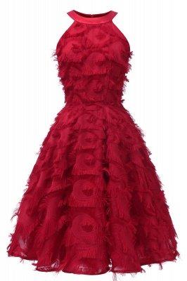 Gorgeous A-line Burgundy Halter Feather Princess Vintage Short Dresses_3
