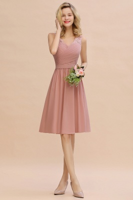 A-line V-neck Knee Length Homecoming Dress | Dusty Rose Chiffon Party Dress with Pleats_11