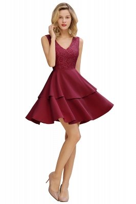Lovely V-neck V-back Knee Length Ruffle Homecoming Dresses_11