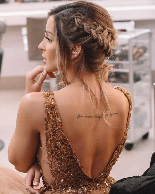 Sexy Front Slit Deep V Neck Prom Dress | Cheap Sleeveless Beading Ruffles Long Prom Dress_3