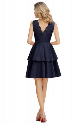 Lovely V-neck V-back Knee Length Ruffle Homecoming Dresses_6