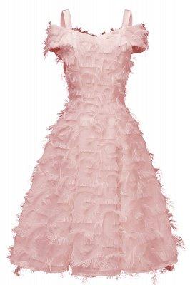 Artificial Fur Cap Sleeve Princess Short Homecoming Dress_2