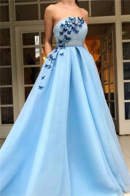 Simple Strapless Sleeveless Blue Tulle Prom Dress | Chic Ruffles Long Prom Dress with Butterfly_1