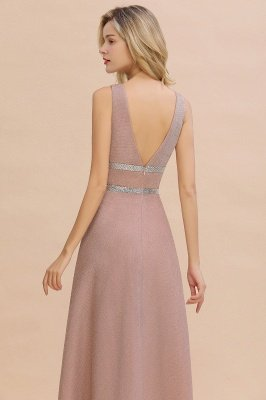 Gorgeous Sleeveless V-back Pink Deep V-neck Long Evening Dresses_4