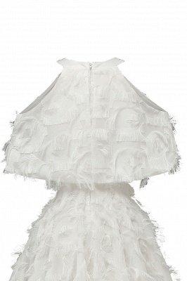 High neck Gorgeous Crew Neck Artificial Feather Dress Burgundy Short Dresses_19