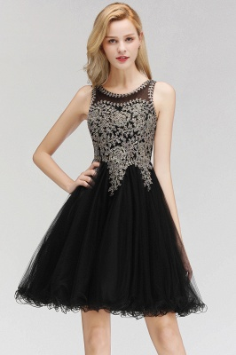 Cute Crew Neck Open Back Beaded Lace Appliques Homecoming Dresses_4