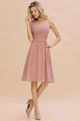 A-line V-neck Knee Length Homecoming Dress | Dusty Rose Chiffon Party Dress with Pleats_7
