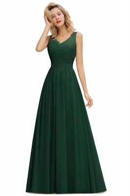 Simple V-neck Sleeveless Long Prom Dresses with soft Pleats_4