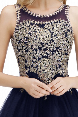 Cute Crew Neck Open Back Beaded Lace Appliques Homecoming Dresses_25
