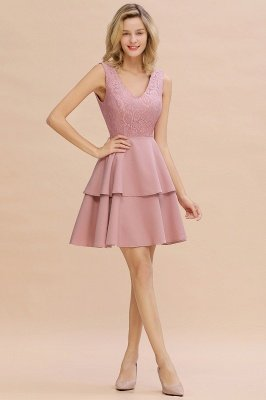 Lovely V-neck V-back Knee Length Ruffle Homecoming Dresses_17