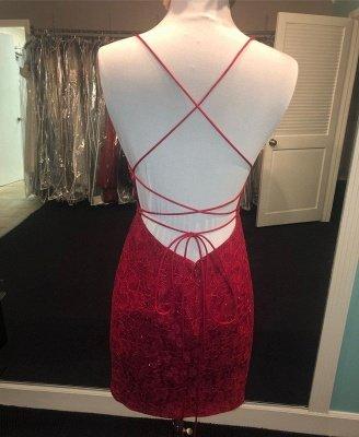 Bodycon Spaghetti Straps Sleeveless Homecoming Dress | Cheap Lace Short Mini Tight Cocktail Dress_3