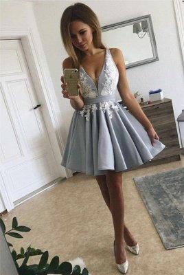Short V-neck Lace Cute Sleeveless Homecoming Dress_5